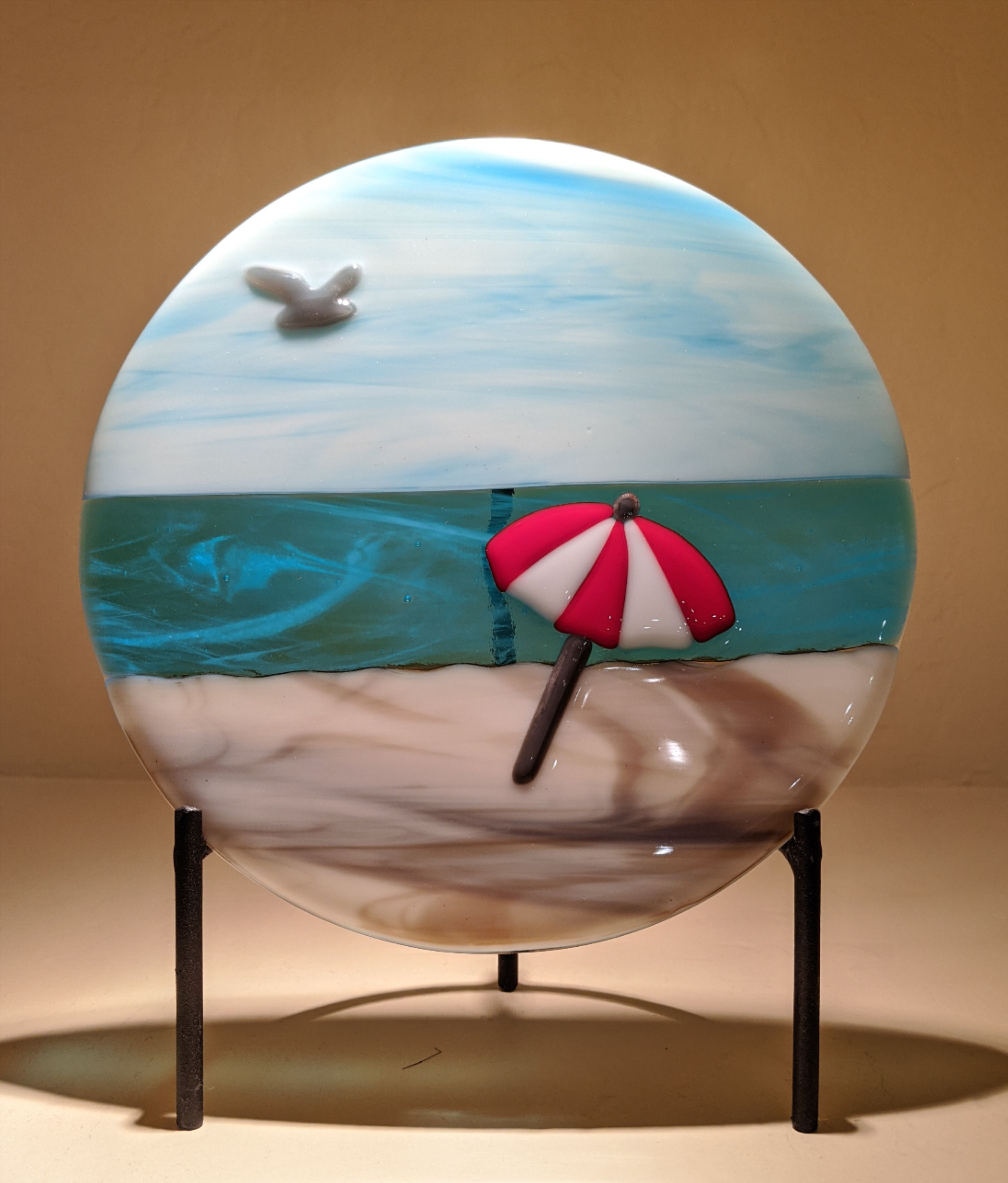 Glass Art Crashing Ocean Wave Panel with Stand 16 1//4 Inches Tall