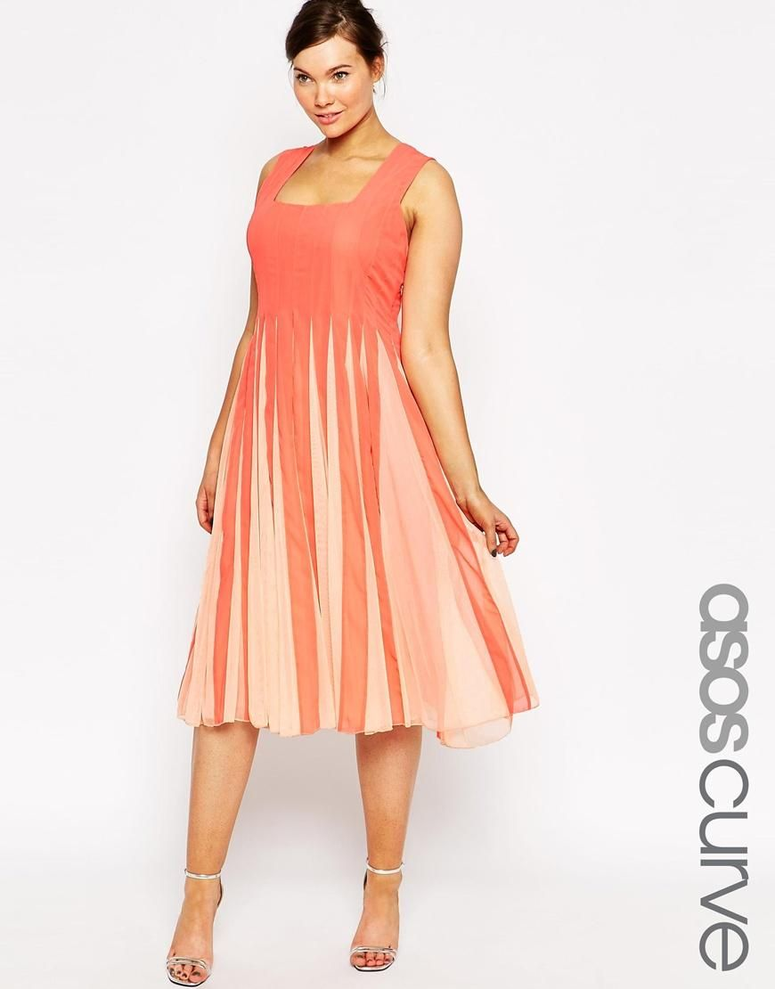 ASOS Curve   ASOS CURVE Fit & Flare Mesh Dress With Square