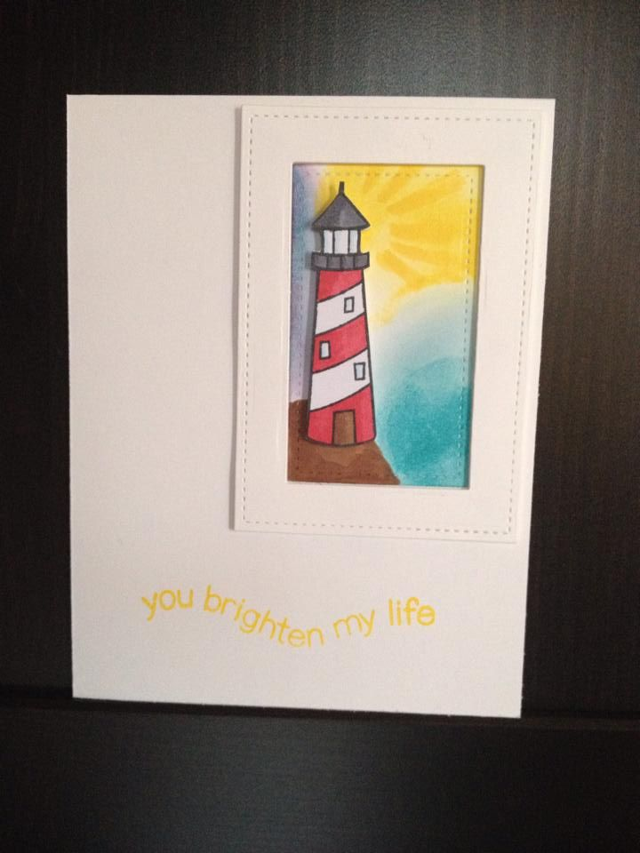 """Card """"You brighten my life"""" I made for lawnscapping challenge 99."""