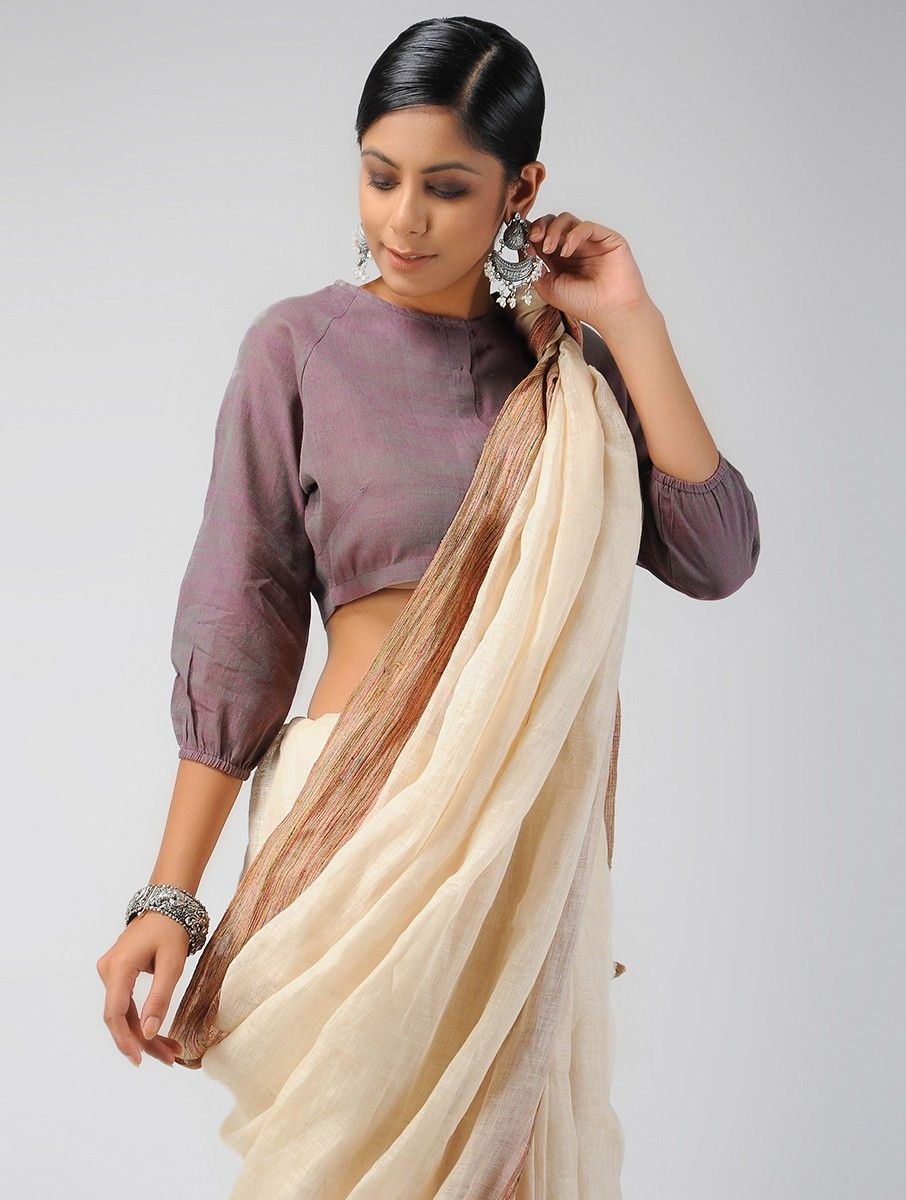 24d7cf2d6bef6 Buy Purple Handloom Cotton Blouse Women Blouses The Project  Brights On  trend to style with sarees or wear as crop tops Online at Jaypore.com