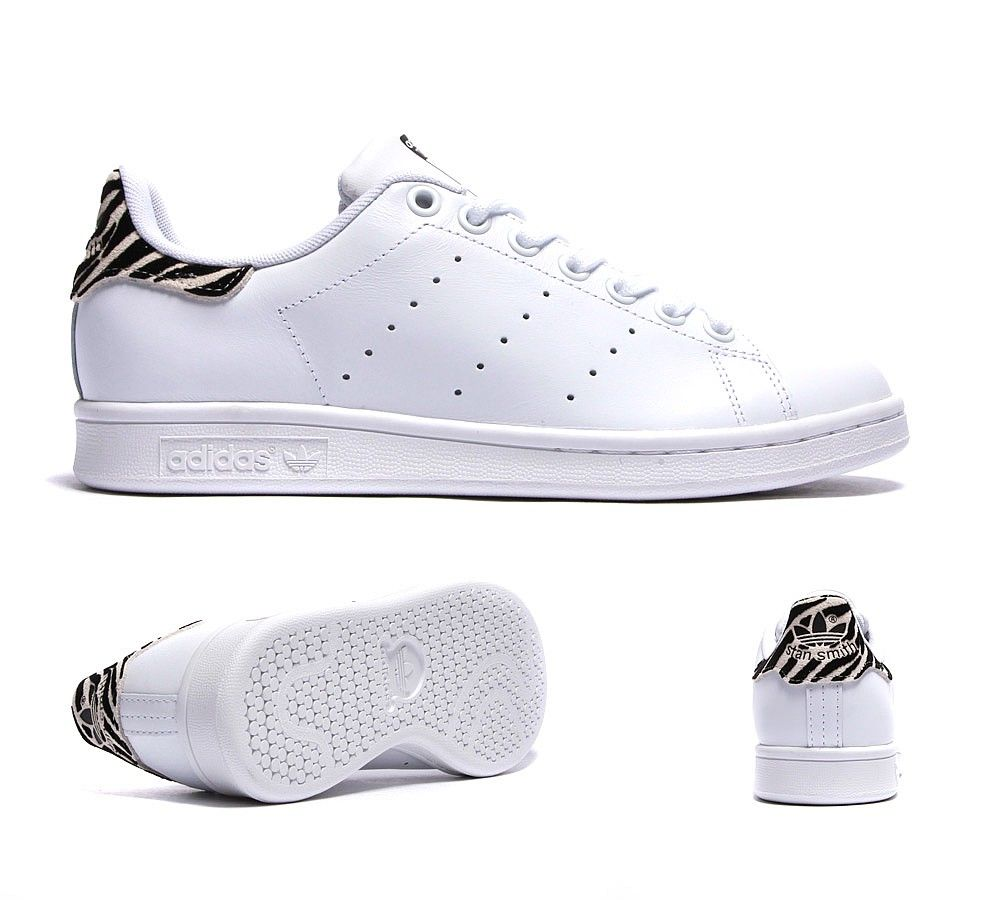 9aac08a33aaf6 Adidas Originals Womens Stan Smith Trainer   White   Zebra   Footasylum