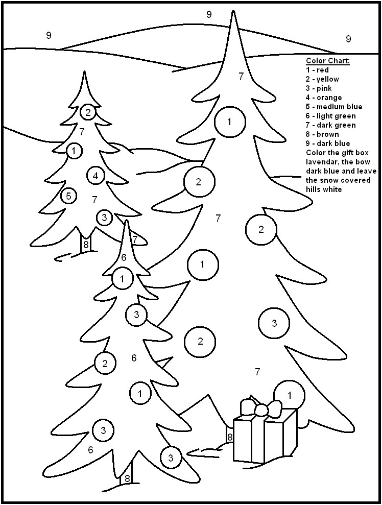 Coloring Pages Of Le Trees : Free printable christmas color by number pages
