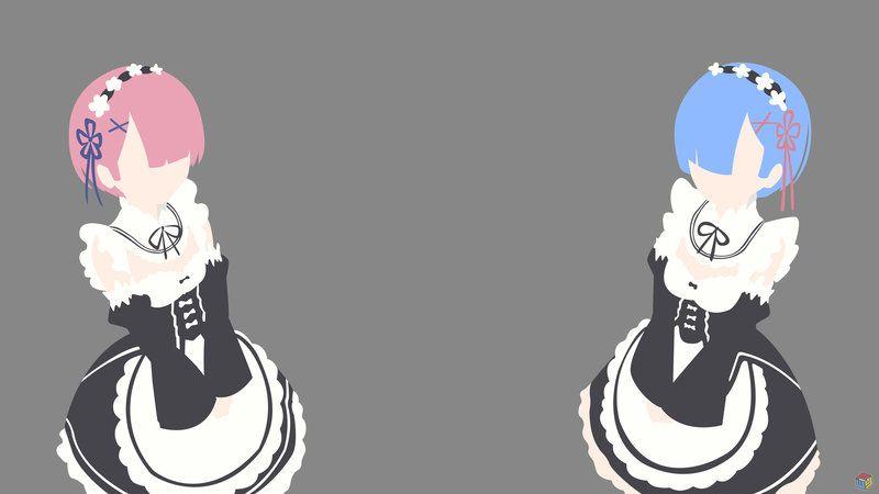 Ram Rem Re Zero Minimalist By Piwyadrian Deviantart Com On Deviantart Anime Wallpaper Anime Ram And Rem