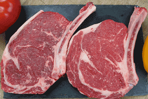 The tomahawk steak, because of its resemblance to a tomahawk. The bone is been left in to enhance the taste of this flavorful cut