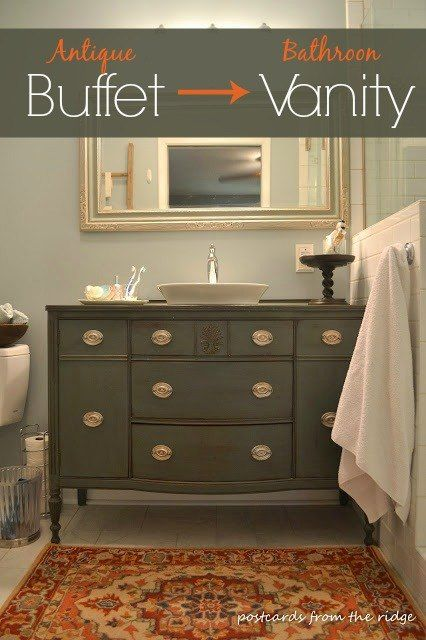 Re Purposing Our Dining Room Buffet Into A Bathroom Vanity Ideas Painted Furniture