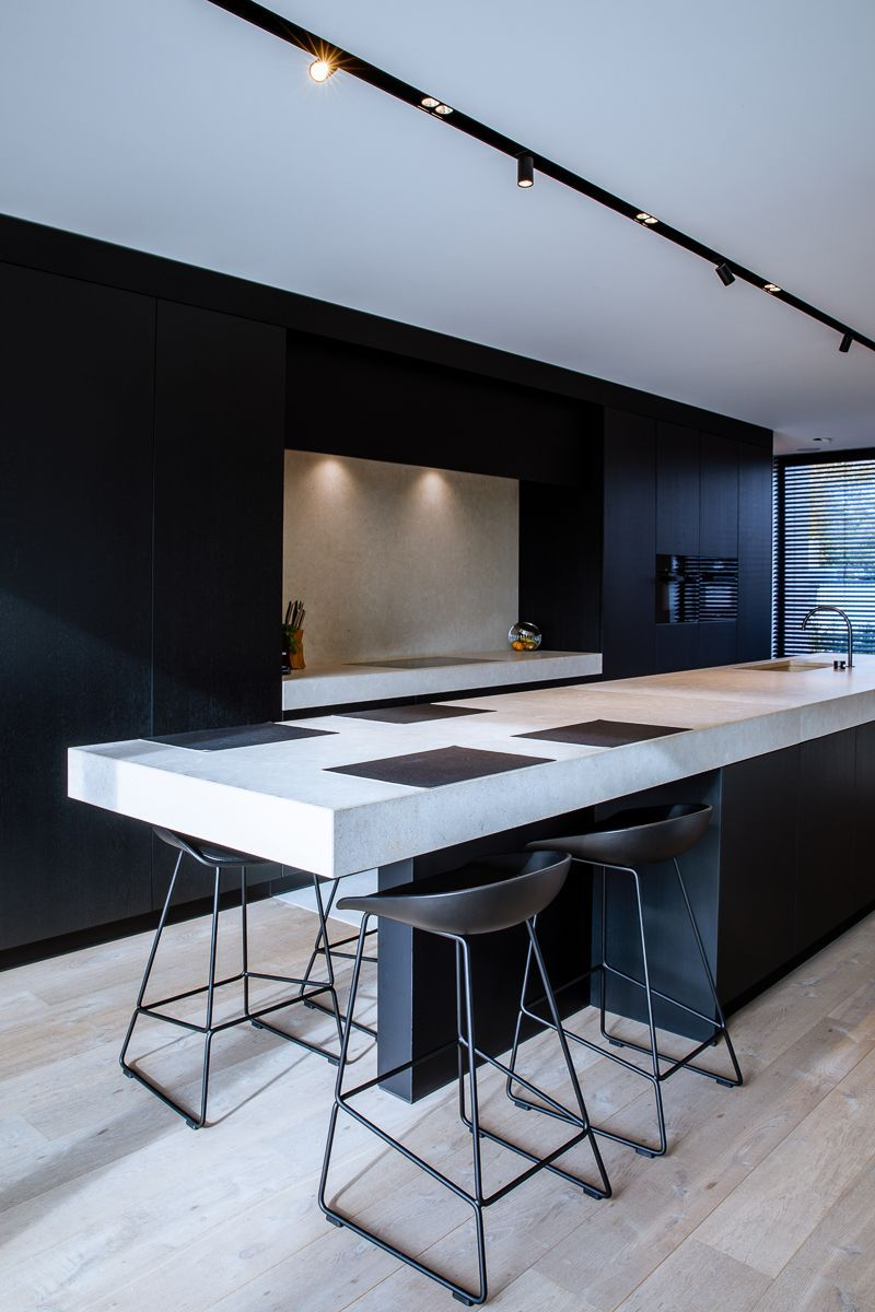 Küchenideen mit schwarzen schränken kitchen by foca  residence fm in belgium