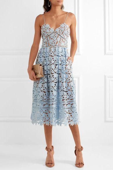f0412b025b26 Self-Portrait - Azaelea Guipure Lace Midi Dress - Sky blue