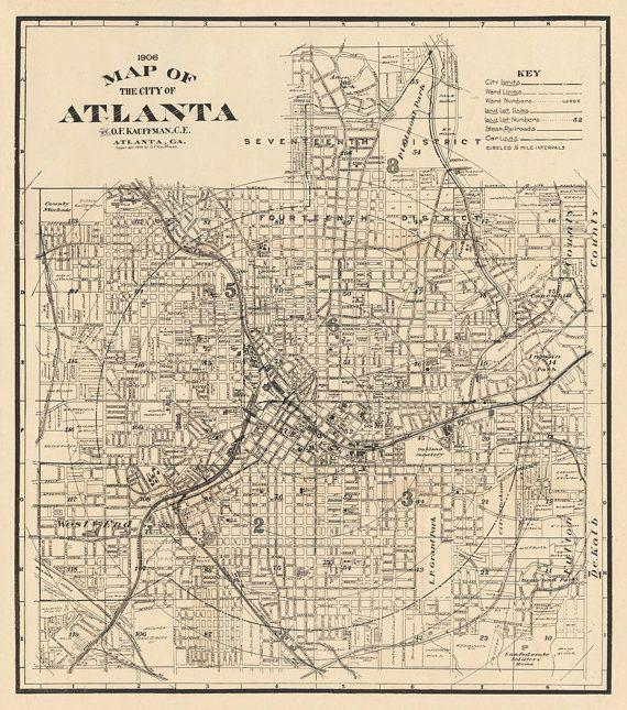 Map Of Atlanta Old Map Restored Archival Fine Print Of Atlanta Map Old Map Vintage Maps