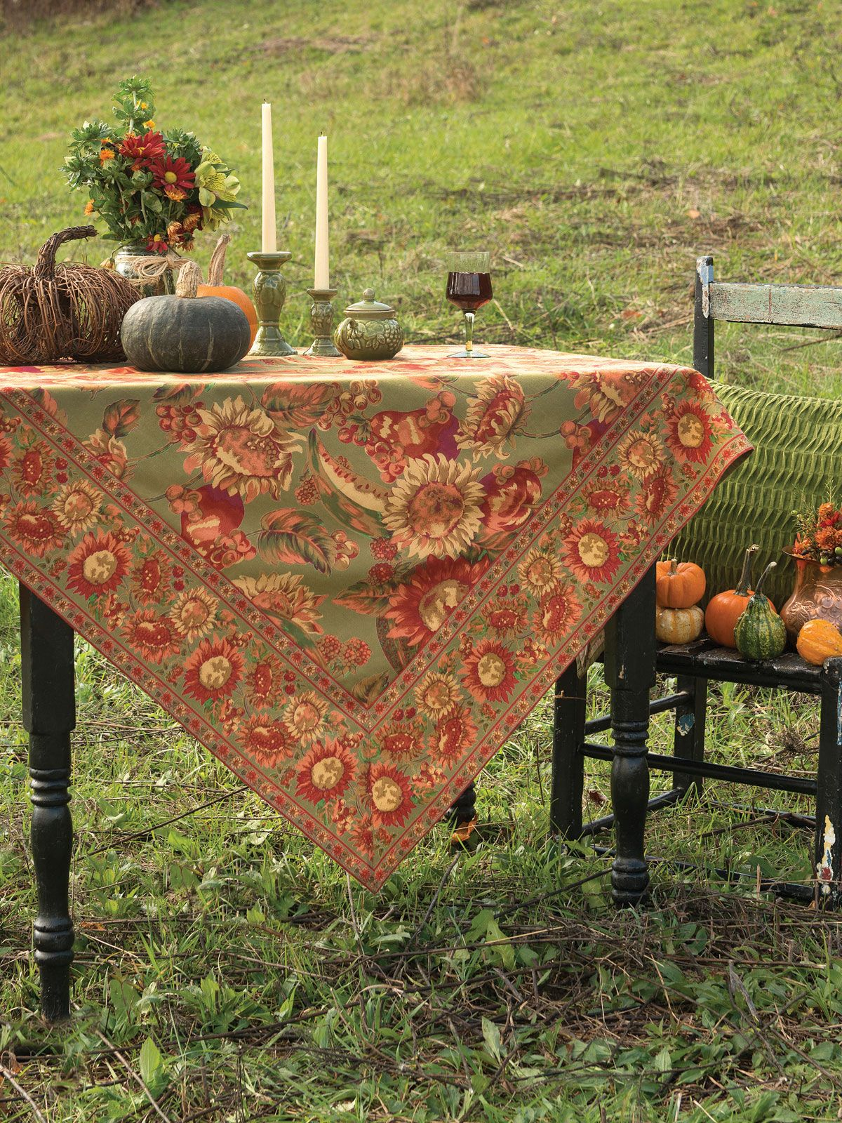 Sunflower Tablecloth  Olive - Table Linens & Kitchen, Tablecloths