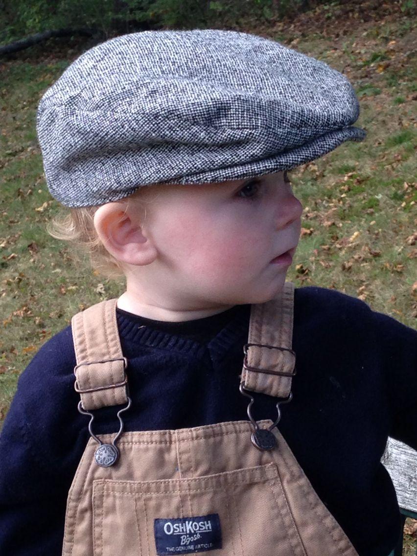 Baby Scally Cap. Black And White Tweed Cap