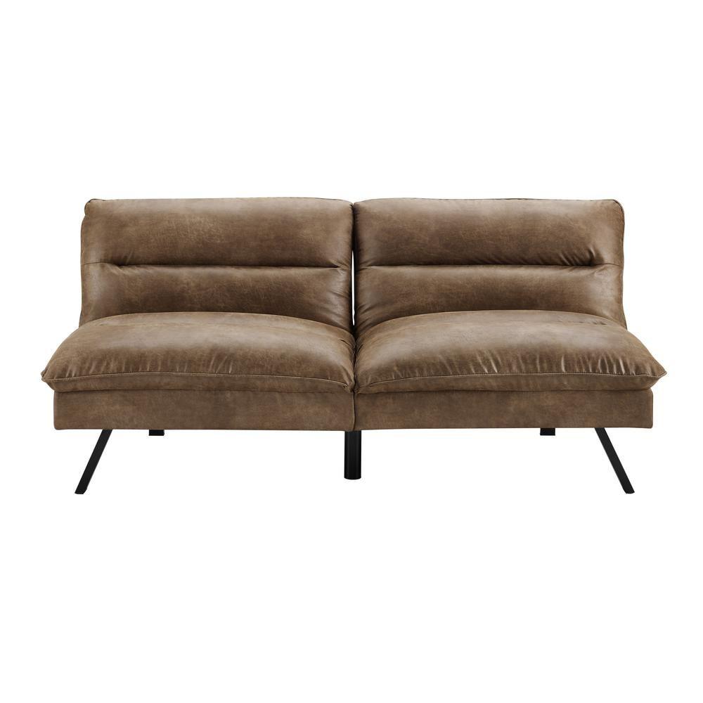 Simmons Manhattan Brown Bomer Convertible Sofa, Brown Bomber ...