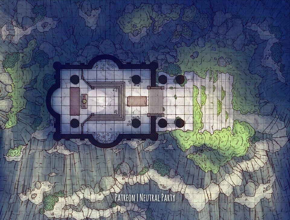 [OC][Art] Mountainside Temple Battlemap DnD Fantasy