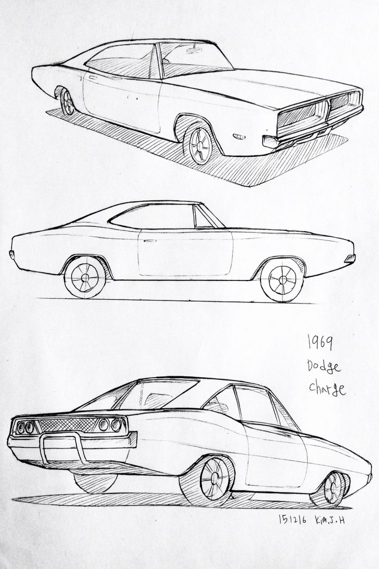 Car drawing 151216 1969 Dodge Charger Prisma on paper. Kim.J.H ...