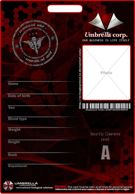 Umbrella Corp ID Template by Juan8T88 on deviantART – Blank Id Card Template