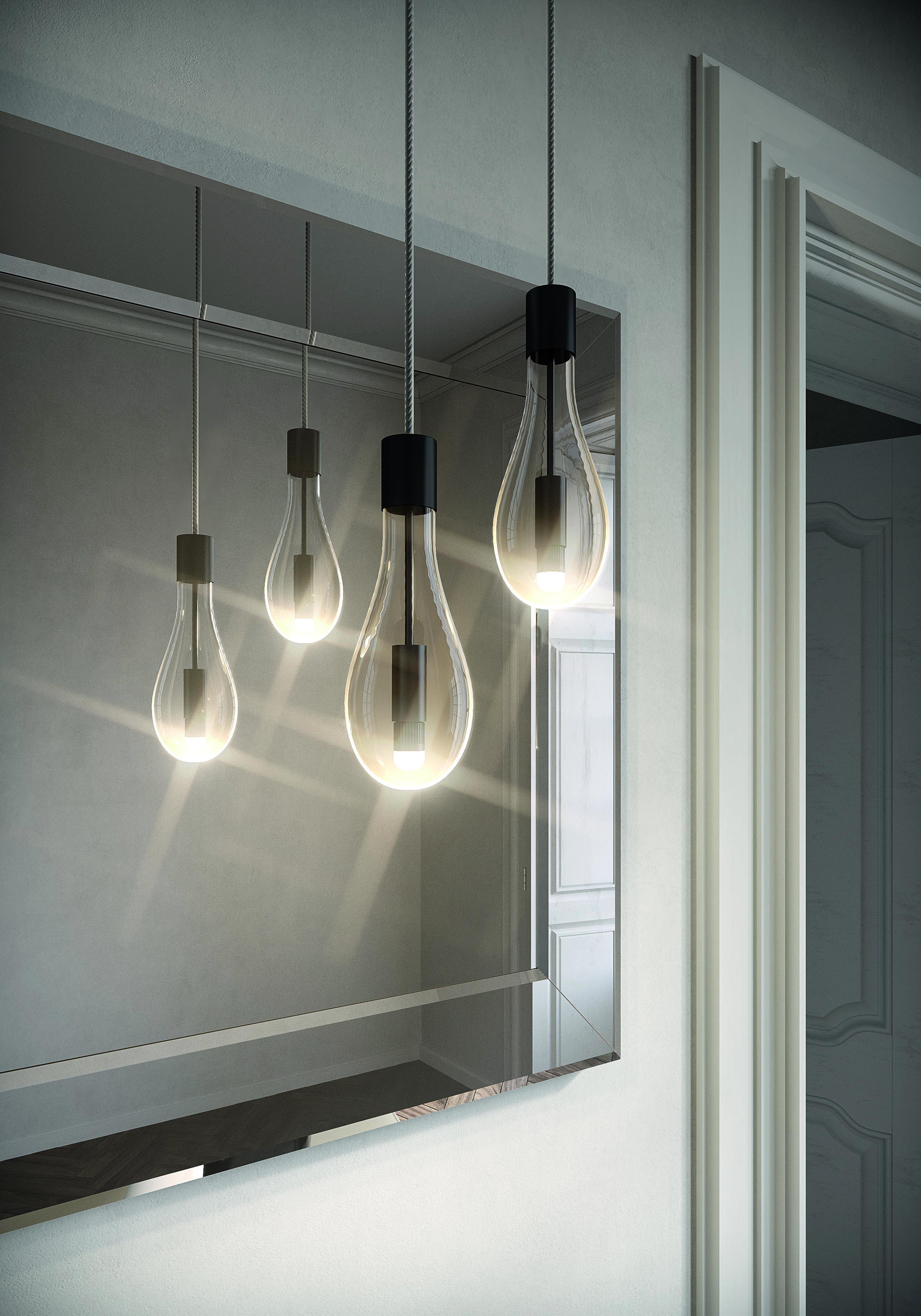 Photo of Detaljer i speil og belysning for Dolcevita-kolleksjonen. Goccia lampe og Prisma …