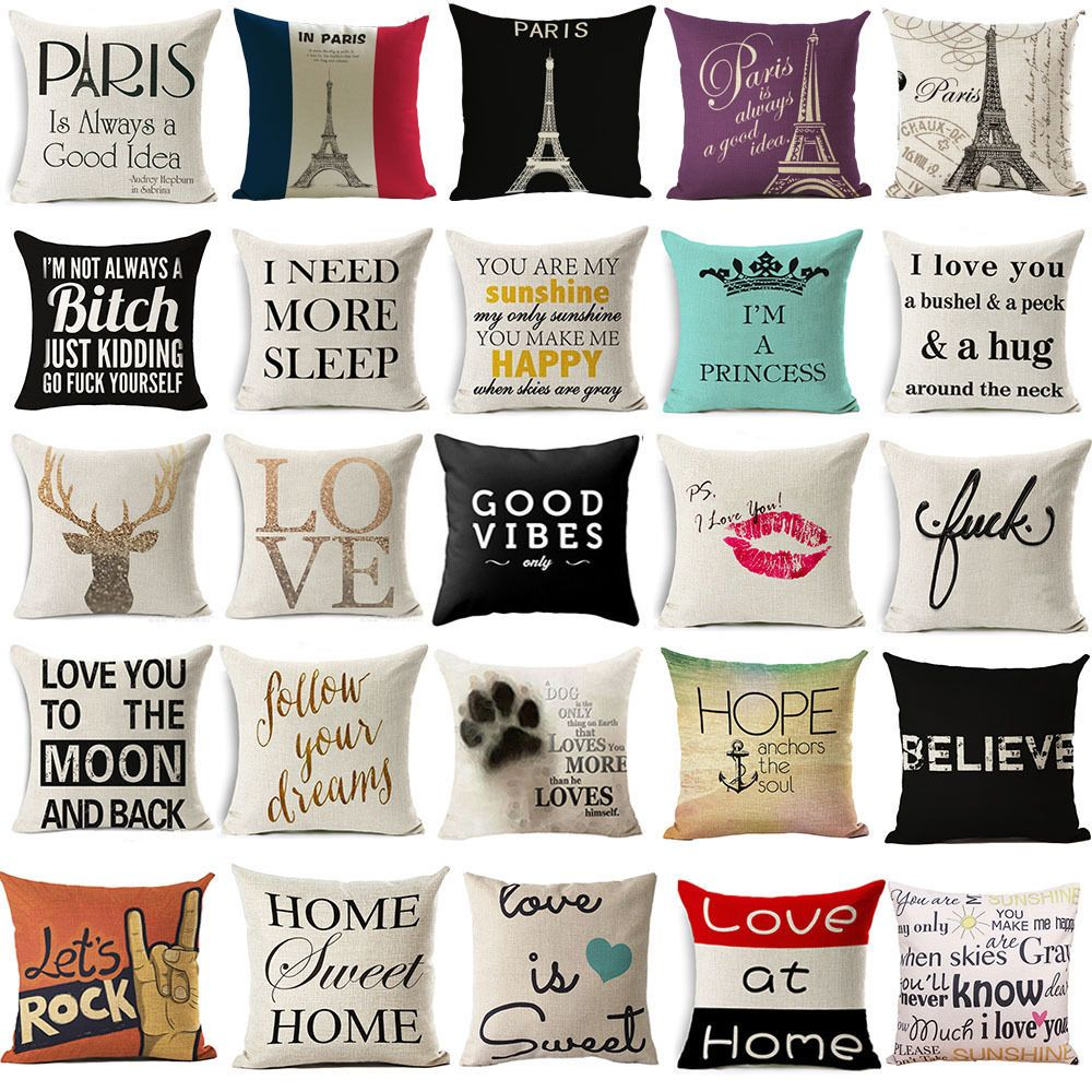 Uu funny words cushion cover pillow case cover waist throw sofa