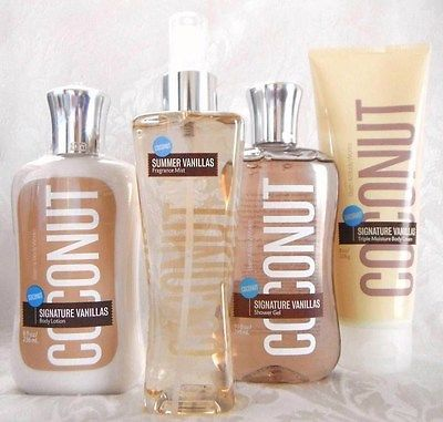 Body Sprays and Mists: Bath And Body Works Coconut Vanilla Fragrance Mist Lotion Triple Cream Shower Gel BUY IT NOW ONLY: $49.95