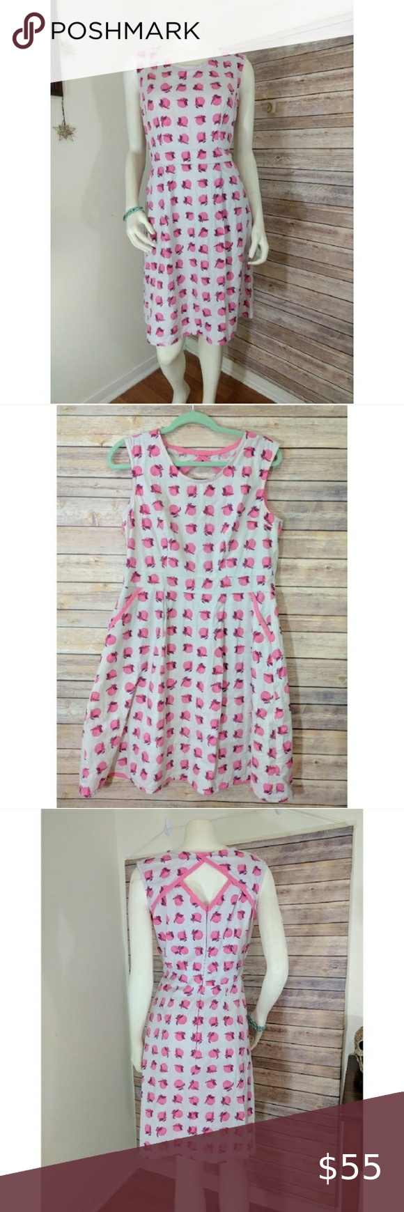 Whimsical Retro Pink Red & Gray Apple Dress Sz 8