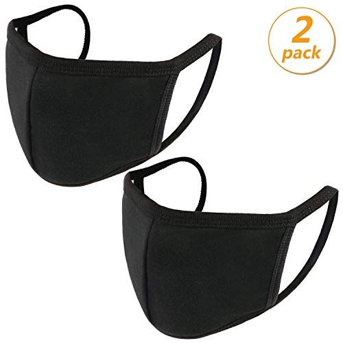 Photo of 2 Pack Anti Dust Mouth Mask Cotton Mouth Mask,UNIME Unisex Black Face Mask Reusable Mask 3D Fashion Face Mask Washable Mask for Cycling Camping Travel For Adults Men Women