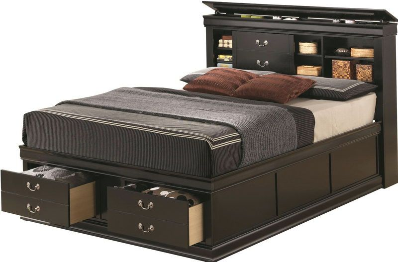 Storage Headboard King Size Platform Bed With Drawers