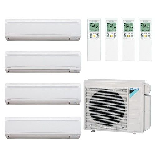 Daikin 36 000 Btu Quad Zone Mini Split System 7 7 7 15 Ductless Heating And Cooling Heat Pump System Ductless Heating