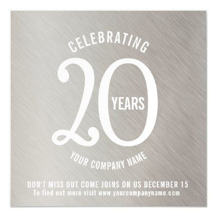 20th anniversary corporate save the date platinum magnetic invitation | Zazzle.com #20thanniversarywedding