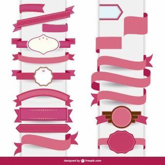 Ribbon pink decorative template