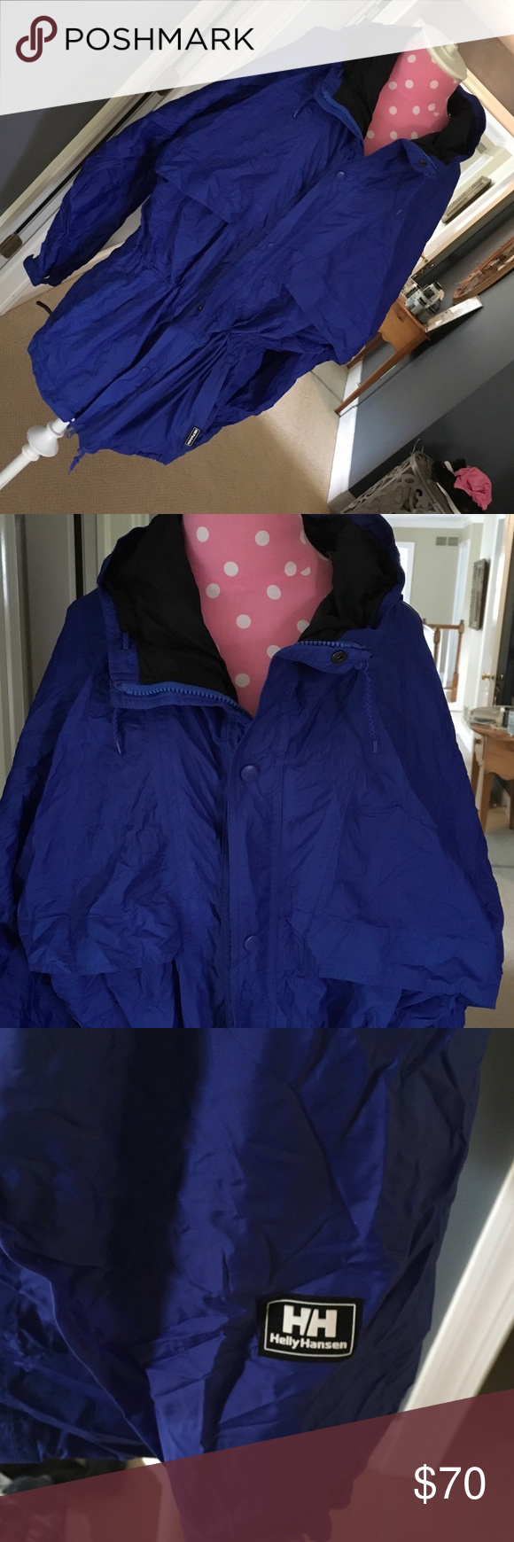 Jelly Hansen anorak Size medium anorak. Perfect condition. Pocket is a stuff sack. Mesh upper back inside lining. Interior Drawstring waist with cinches.hood can roll down and snap into place. Helly Hansen Jackets & Coats