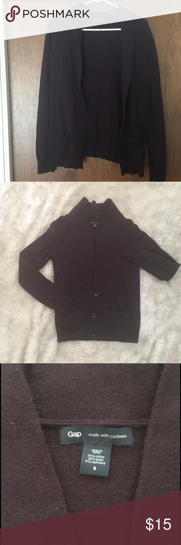 GAP Cardigan Sweater Cashmere Blend - Dark Purple | Dark purple ...