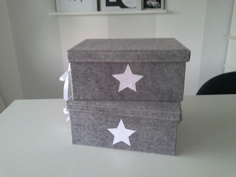 2 Kisten, Filzkisten, Boxen , hellgrau von rosa rot auf DaWanda - wohnzimmer deko rot