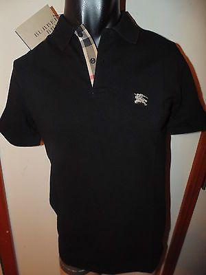 ae1e6a4ea Burberry mens black short sleeve nova check placket polo shirt tshirt small  on shopstyle.com