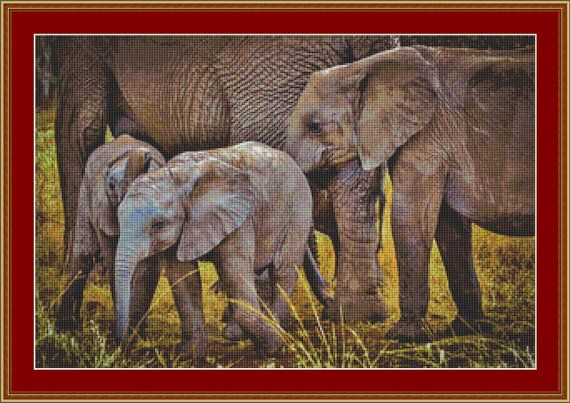 Cross Stitch Pattern Elephants.  This cross stitch pattern depicts a group of young elephant staying close to the adults.   If you're a lover of animals, the colours that create this natural scene would blend into may different colour schemes, then this cross stitch pattern is for you.  The...
