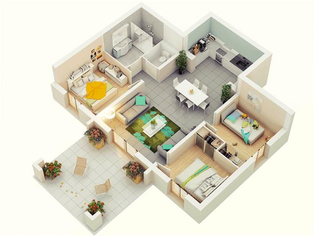 75 Modern And Newest 3 Bedroom 3d 3 Bedroom Plans Denah Lantai Rumah Denah Rumah Rumah Minimalis