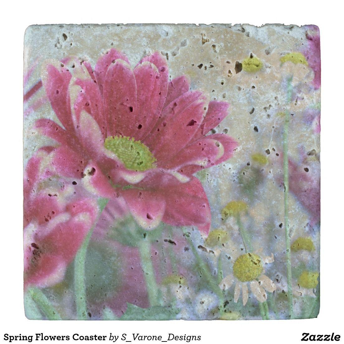Spring Flowers Coaster Stone Beverage Coaster #StoneCoaster #DrinkCoaster #Coasters
