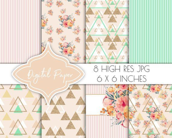 digital papers, peach blush scrapbook papers, digital paper pack, invitation jpg, planner sticker clipart, floral collage, gift wrapping #albumart