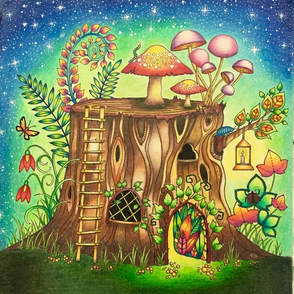 Tree Stump Using Prismacolor And Polychromos Pencils Enchanted Forest Coloring Book Enchanted Forest Coloring Johanna Basford Coloring