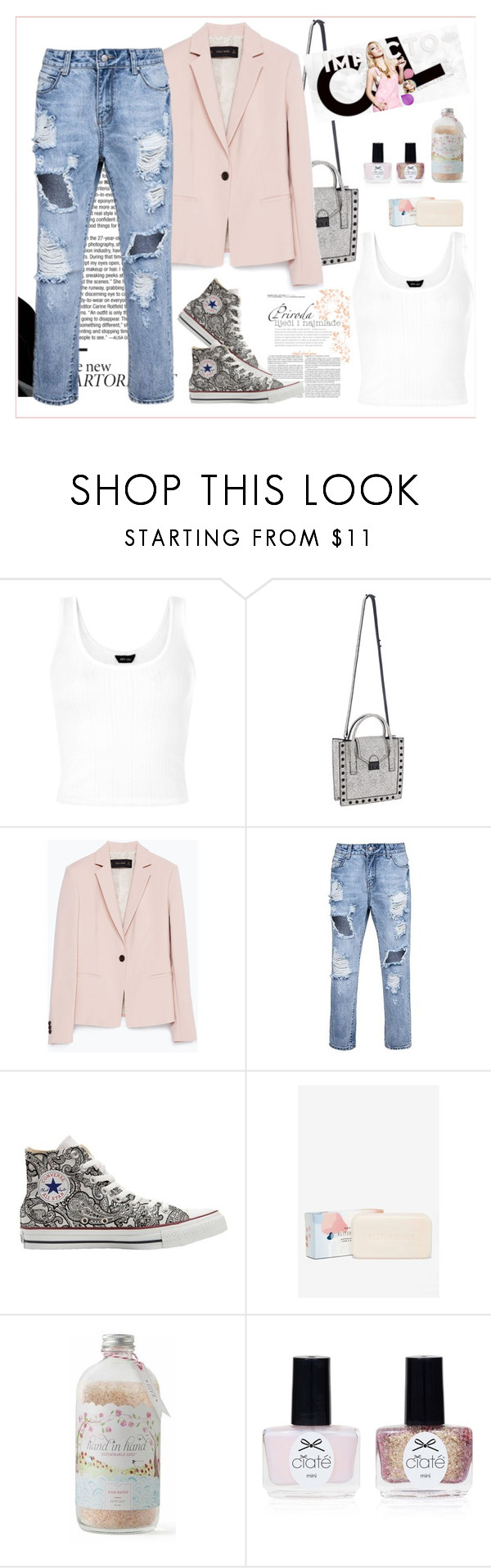 """Nadia"" by biange ❤ liked on Polyvore featuring Loeffler Randall, Zara, Converse, Hand in Hand Soap and Ciaté"