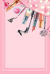 Beauty Cosmetics Vector Watercolor Painted Background Makeup Illustration Makeup Wallpapers Makeup Backgrounds