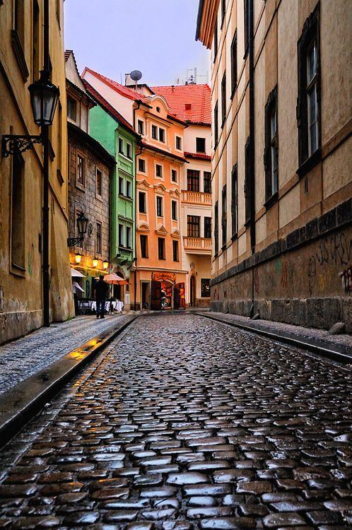 Cobblestone Street, Prague, Czech Republic  photo via harvestheart~~~~~I love walking on cobblestones!!  Just the feel, the age...so cool.