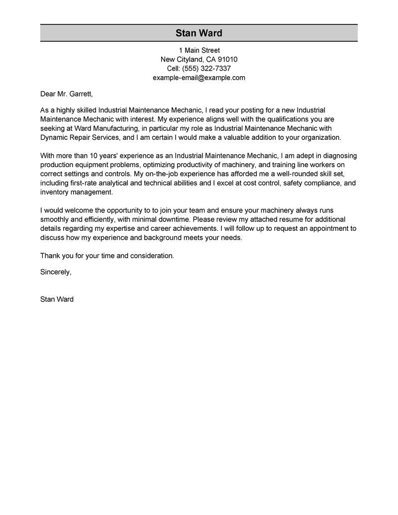 Industrial Maintenance Mechanic Cover Letter Sample