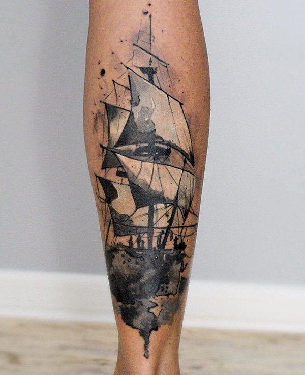 ff1844264 100 Boat Tattoo Designs   iNK   Tattoo designs, Tattoos, Calf tattoo