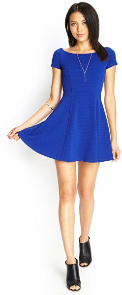 Women's Blue Textured Knit Skater Dress | Forever 21, Clothing and ...