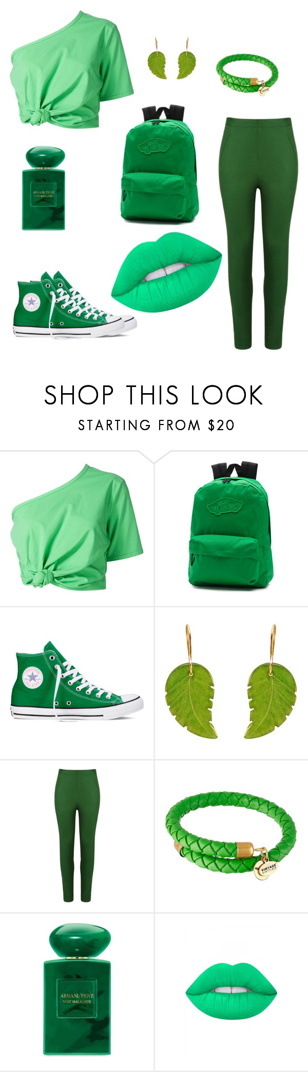 """GREEN 2"" by alessia-only ❤ liked on Polyvore featuring Rosie Assoulin, Vans, Converse, Andrea Marques, Alex and Ani, Giorgio Armani and Lime Crime"