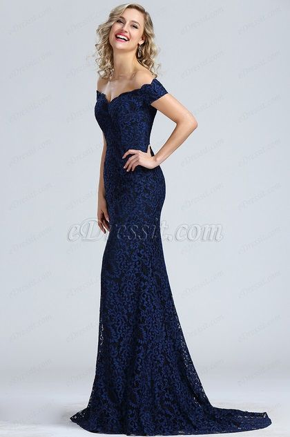 5bef4400b58 eDressit Robe de Soirée Hors Épaule Dentelle Bleu Marine (00171905) Dark  Blue Prom Dresses