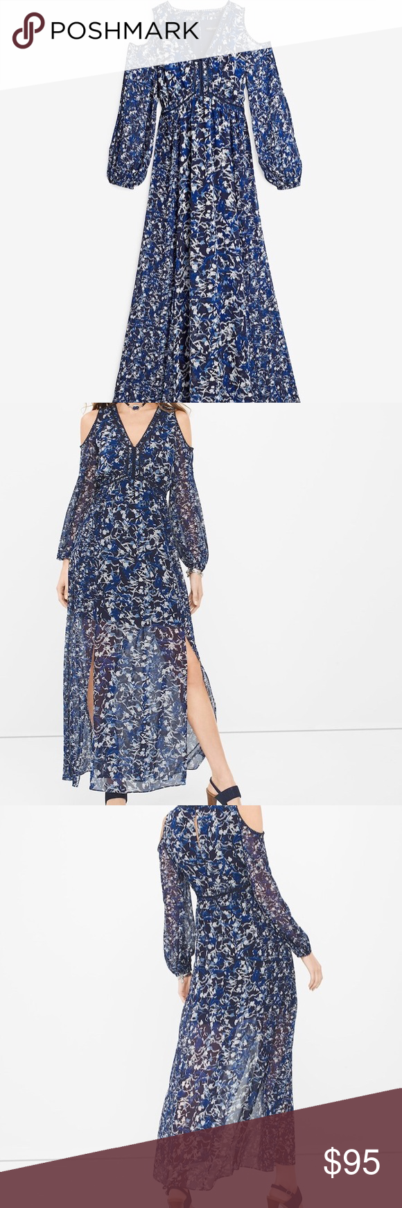 Long sleeve cold shoulder abstract floral maxi new maxi dress is