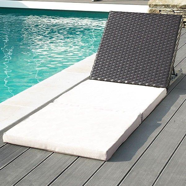 Duo têtière tressée et matelas Lido  #bain de #soleil #transat #fauteuil #outdoor #garden #folding #chair #sunbath #jardin #détente #mobilier de #jardin #extérieur #piscine #chaise #longue