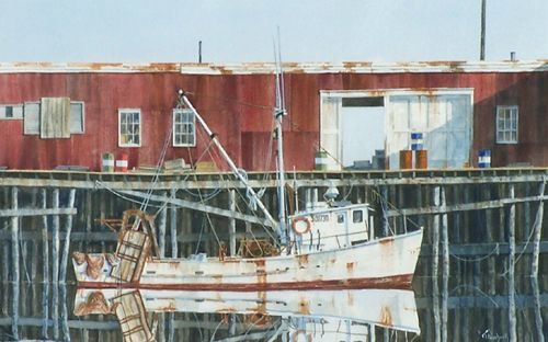 """""""At Rest,"""" by Tom Puschock. Watercolor, 15 3/8"""" x 20 7/8."""" Available at Maine Art Paintings and Sculpture."""