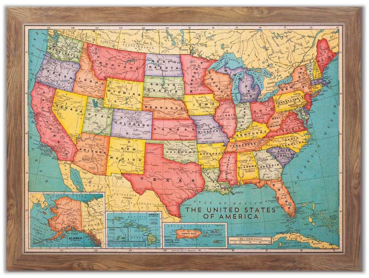 Cork Board USA Map Colors Travel And Usa Maps - Full usa maps