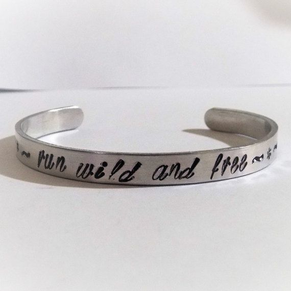 Run wild and free horse cuff bracelet by helenshmcreations on Etsy
