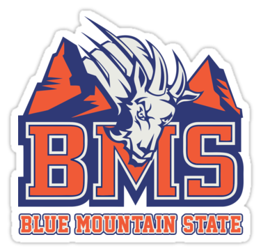 Bms Blue Mountain State Sticker By Crawler Arts Blue Mountain State Blue Mountain Goat Logo
